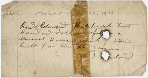Edward Hitchcock receipt of payment to W. S. Howland, 1838 November 20