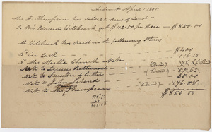 Edward Hitchcock account sheet for land purchase