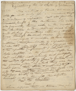 """Edward Hitchcock sermon no. 234, """"Exposition of the 3d. Chapter of Ephesians,"""" 1824 May"""