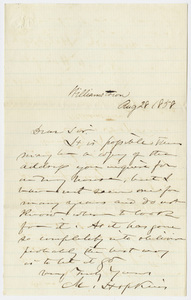 Mark Hopkins letter to Edward Hitchcock, 1858 August 28
