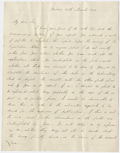 Governor Edward Everett letter to Edward Hitchcock, 1838 March 10