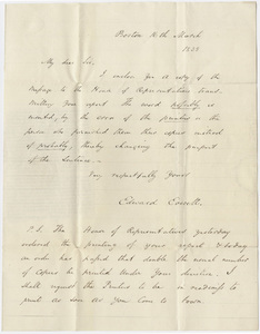 Governor Edward Everett letter to Edward Hitchcock, 1838 March 16