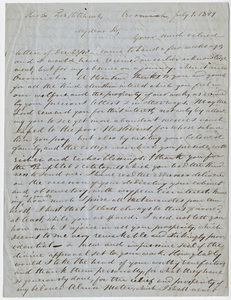 Justin Perkins letter to Edward Hitchcock, 1849 July 9