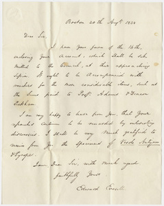 Governor Edward Everett letter to Edward Hitchcock, 1838 August 20