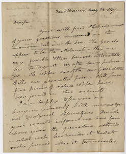 Benjamin Silliman letter to Edward Hitchcock, 1817 August 24