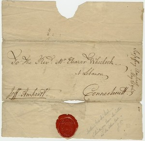 Jeffery Amherst envelope to Eleazar Wheelock, 1763 April 23