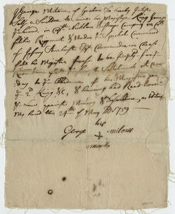 Attestation paper of George Milton, 1759 May 24