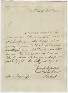 Jeffery Amherst letter to Henry Cowper, 1787 December 23