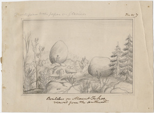 "H. B. Nason pencil drawing, ""Boulders on Mt. Tekoa viewed from the southwest,"" 1855 June 15"