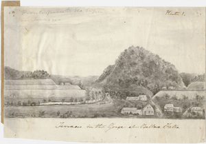 """Pencil drawing, """"Terraces in the Gorge at Bellows Falls"""""""