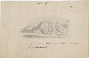 "Pencil drawing, ""View of eroded hills near Natal, S. Africa"""