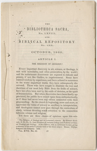 "Bibliotheca Sacra and Biblical Repository notice of Edward Hitchcock's ""The Religion of Geology,"" 1860 October"