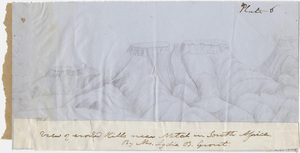 "Lydia B. Grout pencil drawing, ""View of eroded hills near Natal in South Africa"""