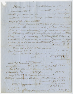 Edward Hitchcock expense account, 1850 June to 1851 January