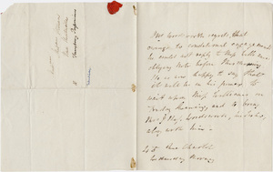 William Wordsworth letter to Helen Maria Williams, [1820 October]