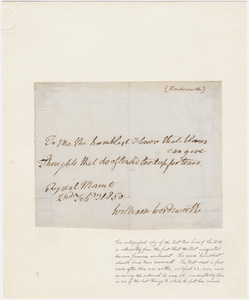 "William Wordsworth autographed lines from ""Ode: Intimations of Immortality from Recollections of Early Childhood"""