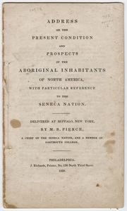 Address on the present condition and prospects of the aboriginal inhabitants of North America