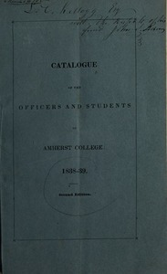 Amherst College Catalog 1838/1839