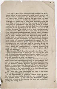 """Walt Whitman galley proof sheets of """"Death of Abraham Lincoln"""""""