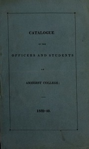 Amherst College Catalog 1839/1840