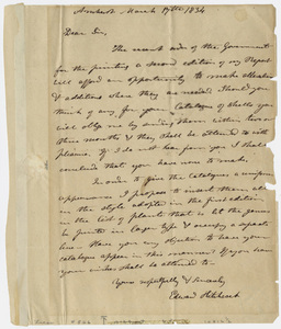 Edward Hitchcock letter to unidentified recipient, 1834 March 17