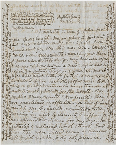 Letter from unidentified correspondent to Mary Hitchcock, 1847 November