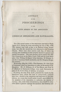 Abstract of the proceedings of the fifth session of the Association of American Geologists and Naturalists