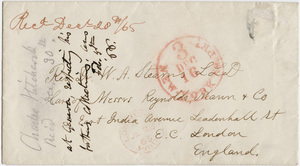 Charles H. Hitchcock envelope to William A. Stearns, 1865 December