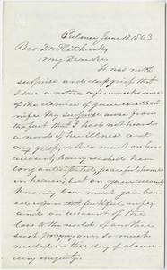 Joseph Vaill letter to Edward Hitchcock, 1863 June 17
