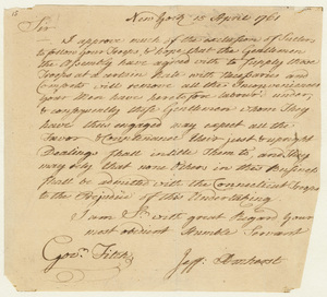 Jeffery Amherst letter to Governor Thomas Fitch, 1761 April 15