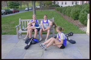 Photographs of students outside the Alumni Gymnasium and Athletic Complex, 2003 May