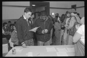 Photographs of a rally in Keefe Campus Center to protest intolerance, 1996 May 3