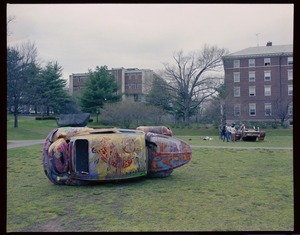 Photographs of car art on Valentine Quad, 1985 June