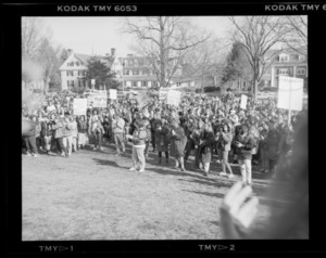 Photographs of student walkout war protest, 1991 February 21