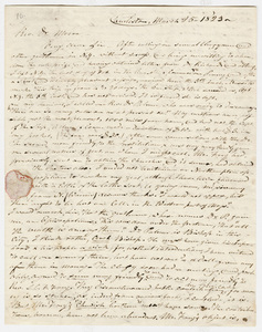 Cyrus Pitt Grosvenor letter to Zephaniah Swift Moore, 1823 March 25
