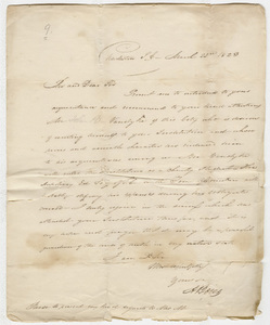 A. Boies letter to Zephaniah Swift Moore, 1823 March 22