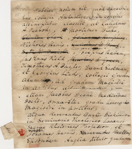 Document regarding the conferral of master's, doctoral, and honorary degrees, 1838