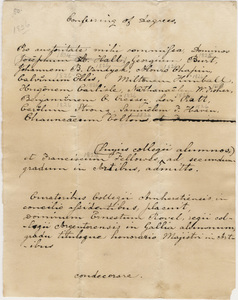 Document regarding the conferral of master's and honorary degrees, 1829