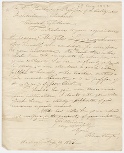 Oliver S. Taylor letter to the president and faculty of the Collegiate Institution, 1823 August 19