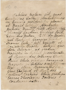 Document regarding the conferral of master's, doctoral, and honorary degrees, 1843