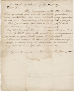 Ephraim Evelith letter to the faculty, 1824