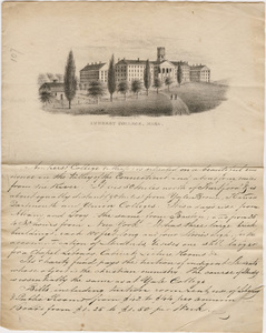 Circular regarding Amherst College on letterhead with printed lithograph of campus, 1820-1843