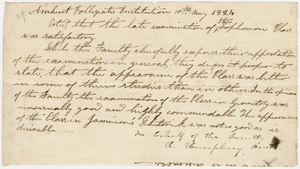 Collegiate Institution faculty resolution regarding the sophomore class examinations, 1824 May 10