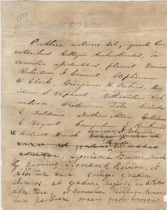 Document regarding the conferral of master's and honorary degrees, 1839