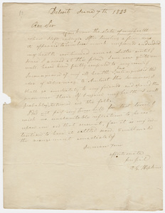 Francis G. Hopkins letter to Zephaniah Swift Moore, 1823 June 7