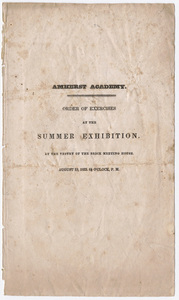 Amherst Academy exhibition program, 1833 August 19