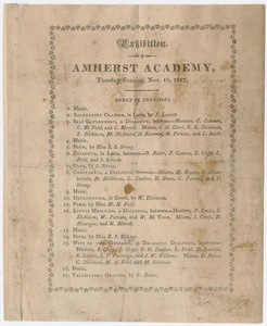 Amherst Academy exhibition program, 1817 November 18