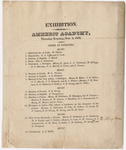 Amherst Academy exhibition program, 1820 November 9