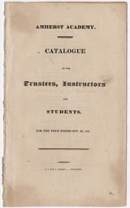 Amherst Academy catalog, 1827 fall term