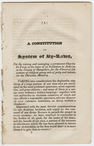 Appendix to report of the committee appointed to inquire into facts relative to the Amherst Collegiate Insitution, 1825 January 8